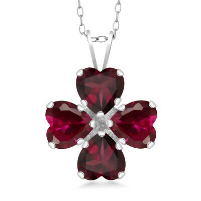 3.36 Ct Red Rhodolite Garnet Red Created Ruby 925 Sterling Silver Pendant