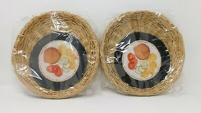 "Lot of 8 Wicker Rattan Bamboo 9"" Paper Plate Holders Picnic BBQ Party Camping"