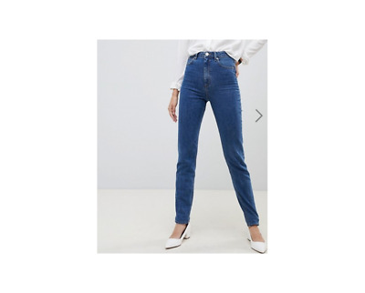 b0b49073 ASOS DESIGN Tall Recycled Farleigh high waisted slim mom jeans in mid wash  blue