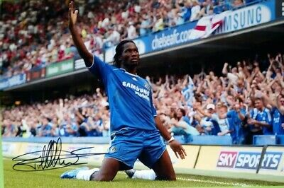 Chelsea Didier Drogba Original Hand Signed Photo With Coa 12X8