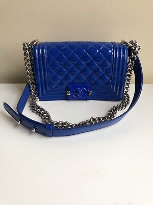 260062e917d3 AUTH CHANEL LIMITED EDITION Blue PATENT LEATHER BOY Plexiglass Cruise 2015  Small