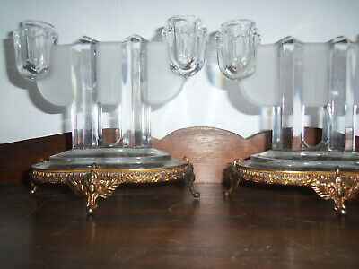 Rare  Art Deco - Hollywood Regency 2 LIght Glass Candleabra, Filigree Stands