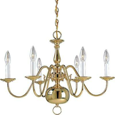 Progress Lighting Americana Collection 6-Light Polished Brass Chandelier