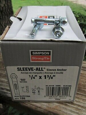 Lot of 200 1/4 x 1 3/8 sleeve anchors Simpson Strong Tie brand new in the box