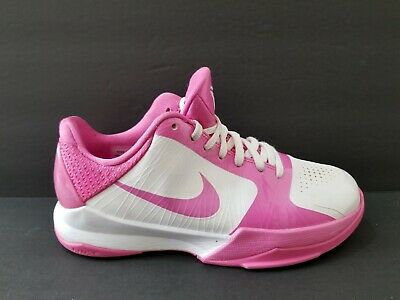 dcd162a7e783 Nike Air Kobe V 5 Youth Size 5 Running Shoes White Pink Fire Kay Yow 386647