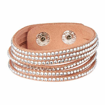 Claire's Girl's Studded Layered Wrap Bracelet - Pink