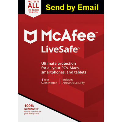 Mcafee LiveSafe 2020 Unlimited Devices 1 Year  2019 antivirus Sent by Email