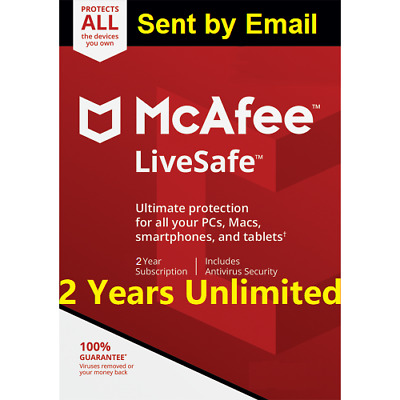 Mcafee LiveSafe 2019 Unlimited Devices 2 Years  antivirus Download Version