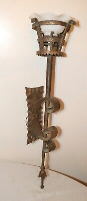 LARGE antique ornate hand wrought iron Gothic electric wall torch sconce fixture