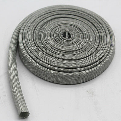 Vulcan Gray Heat Protector Woven Sleeve Spark Plug Wire High temp 10mm ID X25ft