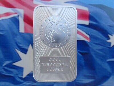1 oz. Perth Mint Kangaroo art bar .9999 ultra fine silver