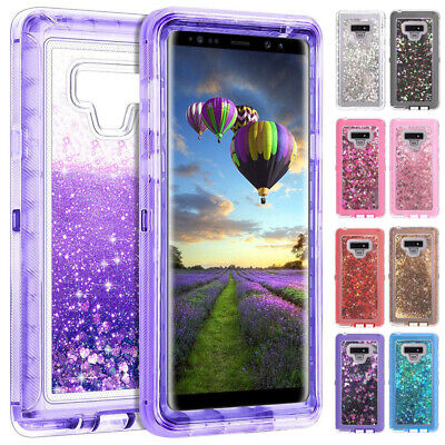 For Samsung Galaxy Note 9 S9 S10 Glitter Liquid Clear Case Hybrid Defender Cover