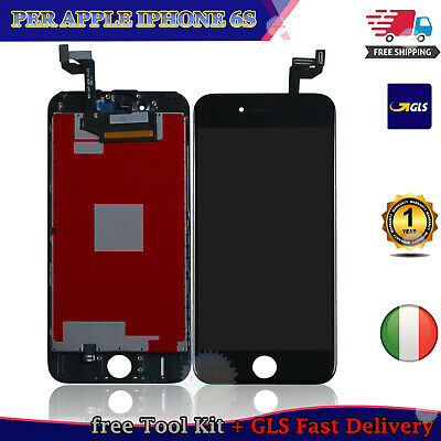 Touch Screen Lcd Display Per Apple Iphone 6S Retina Vetro Schermo + Frame Nero