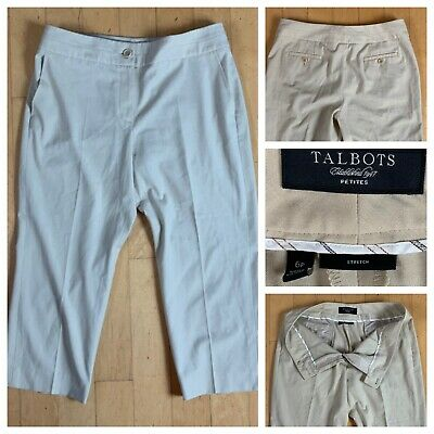 Women's Talbots Beige Petites Dress Stretch Cropped Capris Pants Size 6P