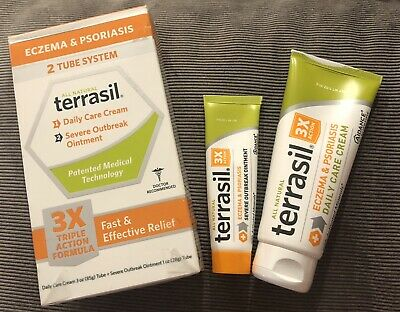 Terrasil Natural Eczema & Psoriasis Fast & Effective Relief 2 Tube System 3X