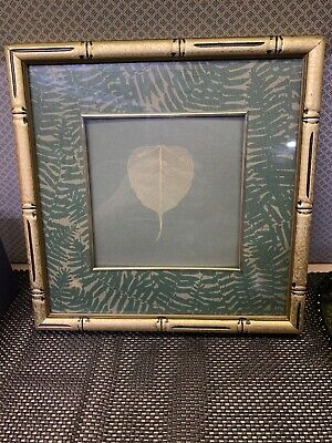 Vintage Wooden Gold Color Picture Frame Aproximately 13 X 13 With Green Leaf