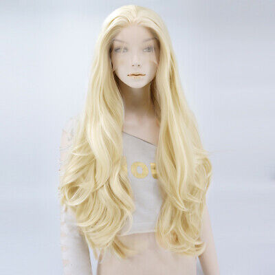"24"" Blonde Sarah Newlin Wavy Lady Daily Lace Front Cosplay Wig Halloween+Cap"