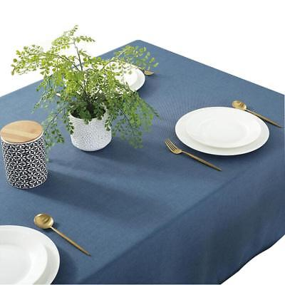 Dining Rectangular Solid Color Linen Tablecloth Waterproof Table Cover New FW