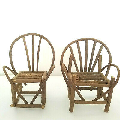 2pc Set Twig Wood Chair Rocker Rustic Folk Art Miniature Doll Furniture