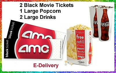 AMC Theaters: 2 Black Movie Tickets 1 Large Popcorn 2 Drinks. Instant delivery!