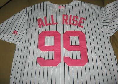 c22d165d Aaron Judge #99 New York Yankees (ALL RISE) Custom Pink Mothers Day Jersey