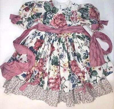 Vintage Handmade Floral Ruffle Dress Toddler Girl's Size 3-4 Pink Bow Dressy 4t