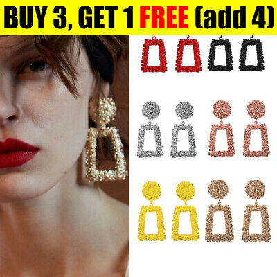Fashion Punk Jewelry Geometric Dangle Drop Earrings Metal Statement Big Gold .S