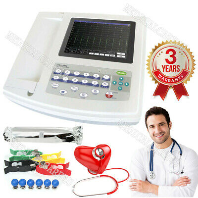 CE 12 Channel ECG Electrocardiogram,Touch screen ECG/EKG machine+Interpretation