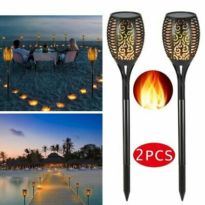 2 Pack True Flame Solar Torch Light Waterproof Solar Flame Light Dancing Garden