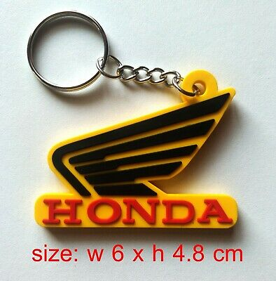 New HONDA Wing Yellow Keychain Key Ring Rubber Motorcycle Gift Biker Racing