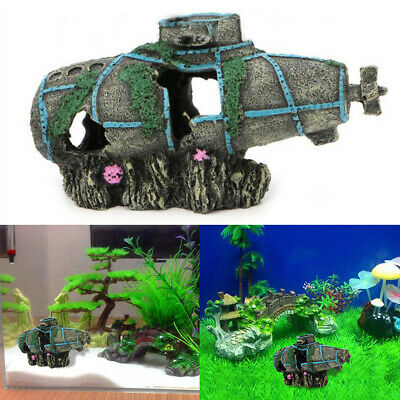 Aquarium Imitation Submarine Sunken Wreck Ornament Fish Tank Gifts Supply Decor