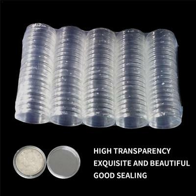100pcs 40mm Clear Round Plastic Coin Capsule Container Storage Box Holder Case
