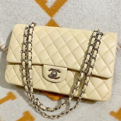 d6eeb789ef1c Authentic Chanel Beige Quilted Lambskin Medium Classic Double Flap Bag  Silver HW