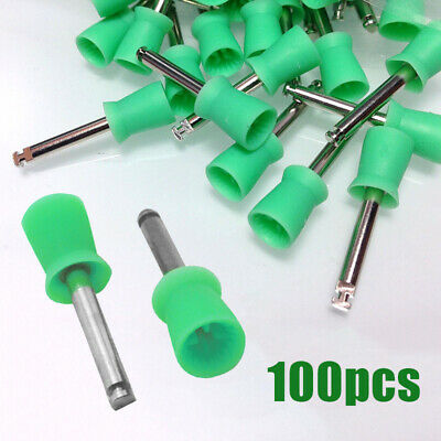 UK 100 Dental Latch Type Brush Prophy Tooth Polishing Cups Polisher Rubber Green