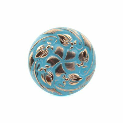 Czech vintage glass button 27mm silver lustre hand painted blue flower