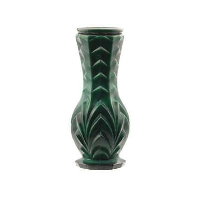 Vintage Czech Art Deco malachite jade glass geometric flower bud spill vase.00