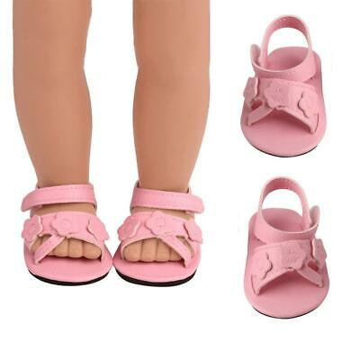 """Pink Flowers & Pearls Sandals for American Girl 18"""" Doll Dress Shoes"""
