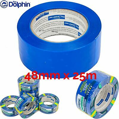 "Box of 18 Blue Dolphin Plastic Masking Tape 2"" Low tack UV 30 day Tarp & Stucco"