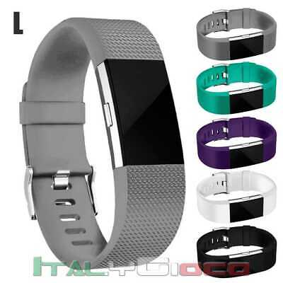 Band Replacement Wristband Strap TPU Silicone for Fitbit Charge 2 Gray Size L