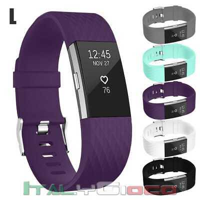 Band Replacement Wristband Strap TPU Silicone for Fitbit Charge 2 Purple Size L