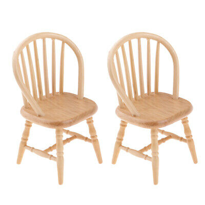 2PcsDollhouse Miniatures Wood Color Chair for 1:12 Scale Doll Room Accessory