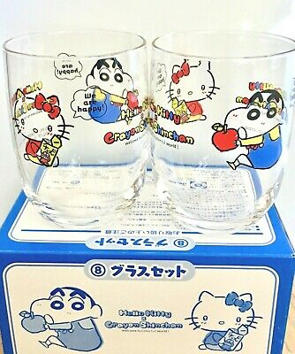 773d56156 NEW HELLO KITTY & Crayon Shin-chan collaboration Pair glass MADE IN JAPAN  KAWAII