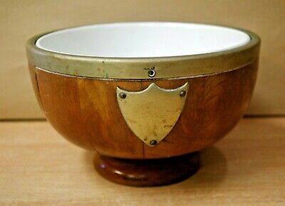 Vintage Wooden Bowl EPNS Rim & Shield With White Staffordshire Ceramic Insert