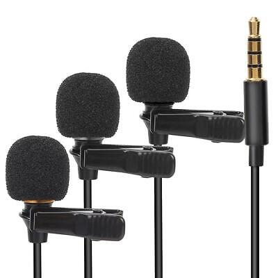 3.5mm Clip-on Lapel External Lavalier Microphone for Cell Phone PC Laptop Pad BS