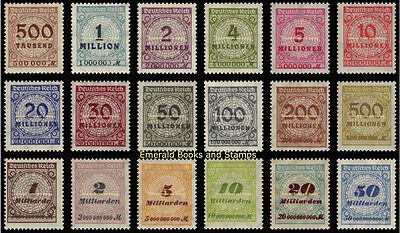 EBS Germany 1923 Inflation Numeral in Rosette (I) Michel 313A-330A MNH**