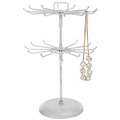 Vintage White Metal Jewelry Organizer Tower Necklace Tree / Display Stand