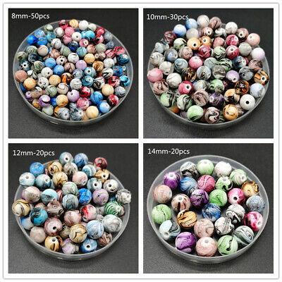 8mm-20mm Round Shape Beads Jewelry Making Acrylic Beads Multicolor Loose Beads