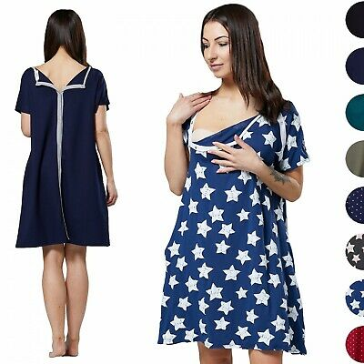 Happy Mama Women's Labor Delivery Hospital Gown Breastfeeding Maternity 1028