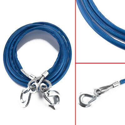 3 Tonne 4M Tow Rope Hook Car Wire Van Metal Truck Tough Pull Heavy Duty
