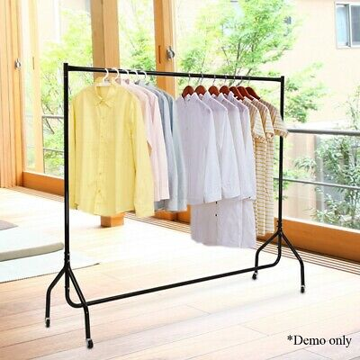 1.8m Mobile Clothes Rack on Wheels Coat Rail Hanger Stand Garment Display Metal